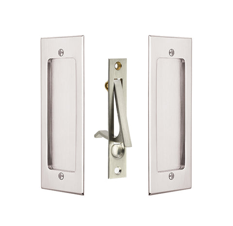7 1/4 Inch Solid Brass Modern Rectangular Pocket Door Pull Set
