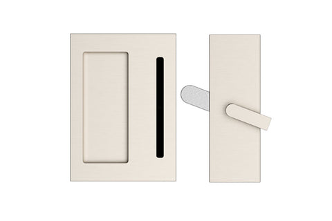 Modern Rectangular Privacy Barn Door Lock and Flush Pull with Integrated Strike (Several Finishes Available)