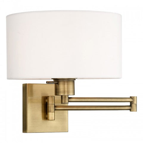 11 Inch 1-Light White Shade Swing Arm Wall Sconce