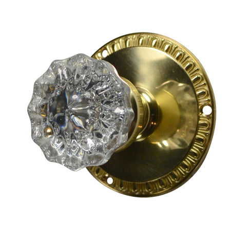 Crystal Fluted Knob with Egg & Dart Rosette
