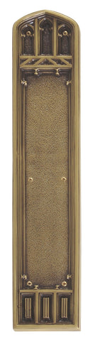 18 Inch American Gothic Solid Brass Push Plate in Several Finishes