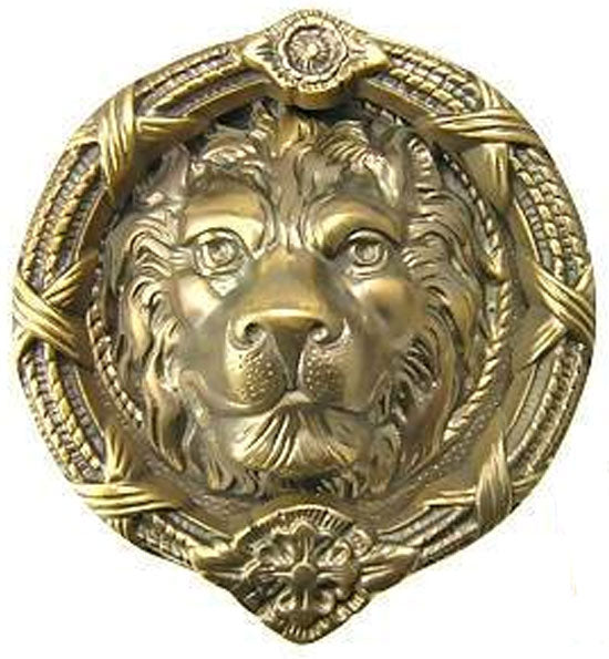 "9 5/8"" Ribbon & Reed MGM Lion Lost Wax Cast Door Knocker"