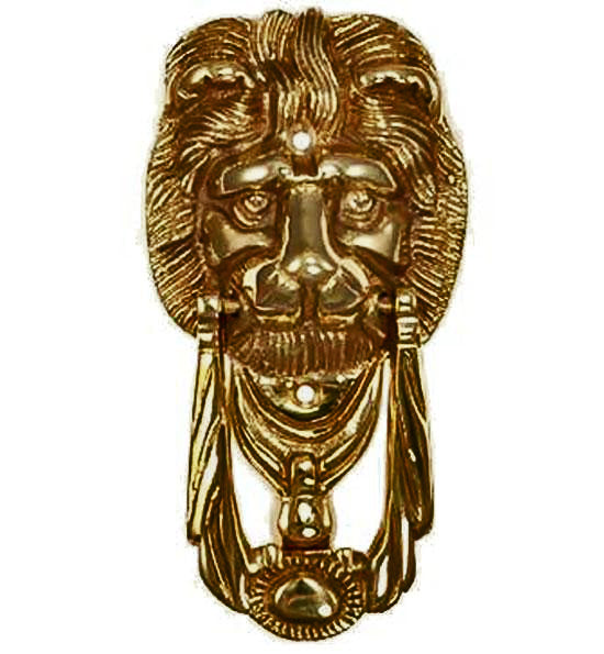6 1/8 Inch Solid Brass Lion Knocker & Ring (Antique Brass Finish)