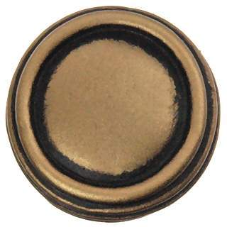 1 Inch Solid Pewter Ribbon & Reed Sonnet Knob (Antique Brass Gold Finish)