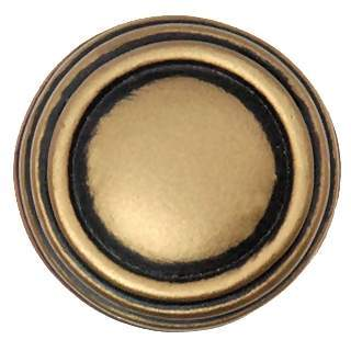 1 1/4 Inch Solid Pewter Ribbon & Reed Sonnet Knob & Backplate (Antique Brass Gold Finish)