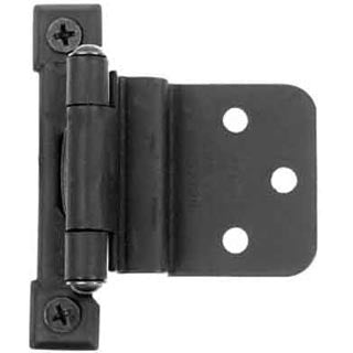 Self Closing Pair of Black Matte Cast Iron Butt Hinges-3/8 Inch Inset