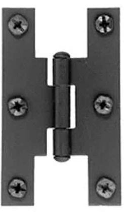 Pair of 3 Inch Tall H Style Hinges (Solid Iron, Flush Mount)