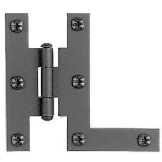 Cast Iron Hinges: Pair of Black Matte Iron Hinges - HL Type (Offset)