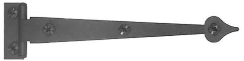 6 1/2 Inch Cast Iron Pair of Black Matte Iron Strap Hinges (Offset)