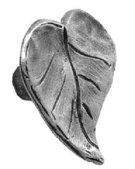 1 5/8 Inch Solid Pewter Knob: Dogwood Leaf