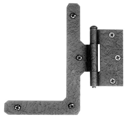 7 Inch Cast Iron Half L Hinge: Pair of Black Matte Iron Hinges