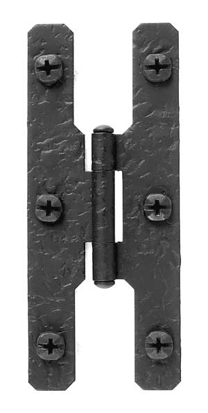 4 1/2 Inch Cast Iron H Hinge: Pair of Black Matte Iron Hinges