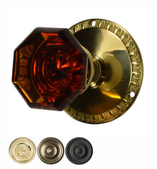 Egg & Dart Octagon Amber Glass Door Knob