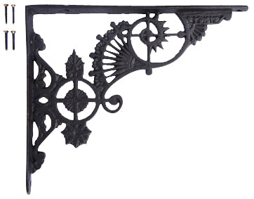 10 5/8  Inch Long Solid Iron Heavy Cast Shelf Bracket  (Flat Black Finish)