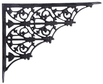 9 5/8 Inch Long Solid Iron Heavy Cast Shelf Bracket  (Flat Black Finish)