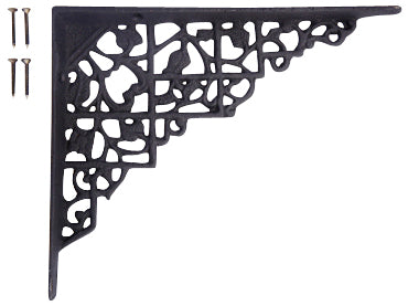 8 5/8  Inch Long Solid Iron Heavy Cast Shelf Bracket (Flat Black Finish)