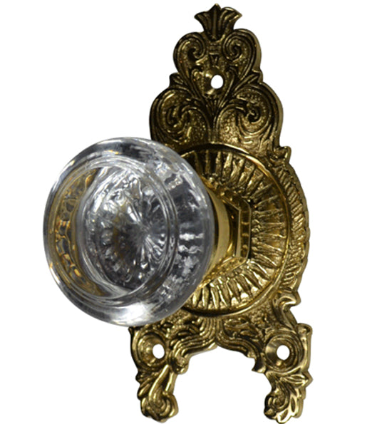 Savannah Round Crystal Ornate Victorian Door Knob Set