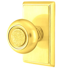 Solid Brass Belmont Door Knob Set With Rectangular Rosette