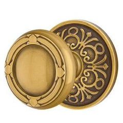 Solid Brass Ribbon & Reed Door Knob Set With Lancaster Rosette