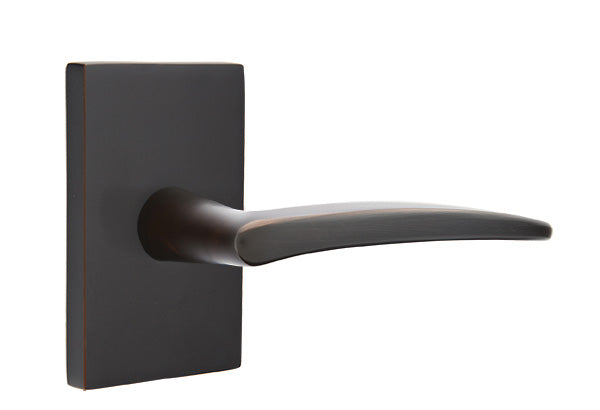 Emtek Solid Brass Poseidon Lever With Modern Rectangular Rosette