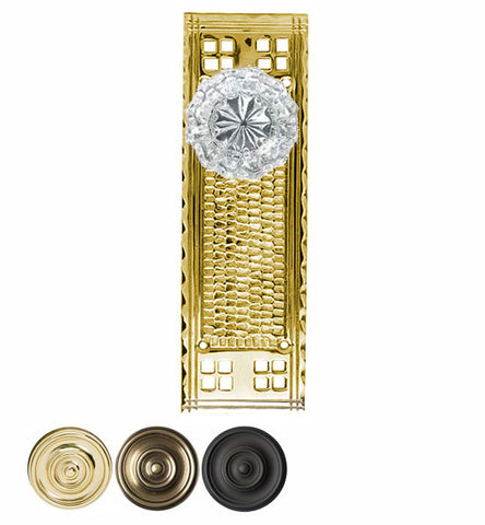 Craftsmen Style Plate With Crystal Fluted Door Knob