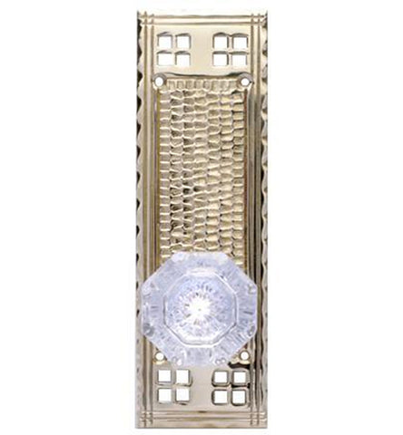 Craftsmen Style Plate With Crystal Octagon Door Knob