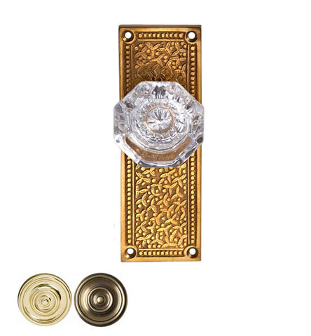 Providence Crystal Glass Door Knob Set with Rice Pattern Backplate