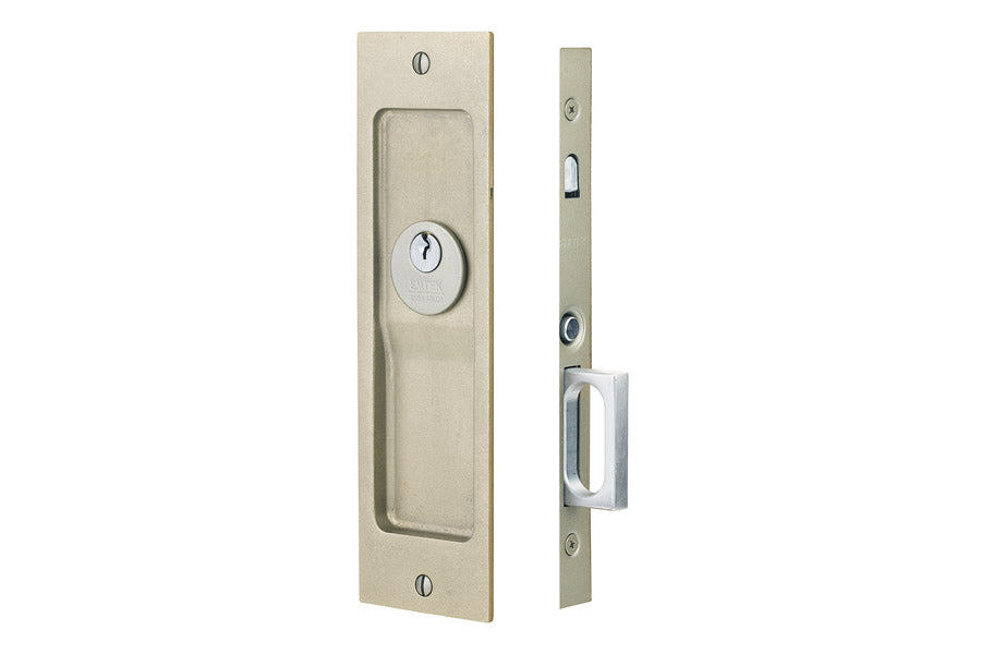 Sandcast Rustic Modern Rectangular Keyed Privacy Pocket Door Mortise Lock