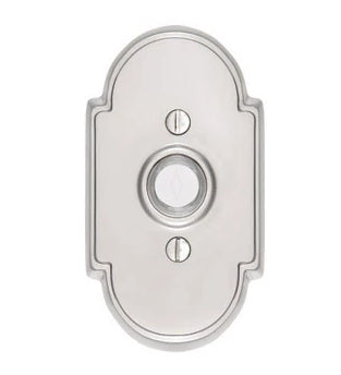 4 3/8 Inch Solid Brass Doorbell Button with Beveled Arched Rosette