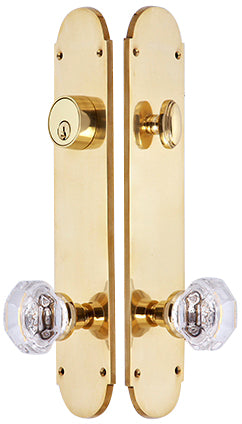 Traditional Oval Single-Door Deadbolt Entryway Set in Polished Brass