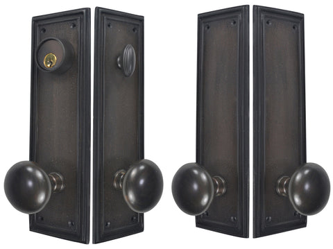 Traditional Square Double-Door Deadbolt Entryway Set