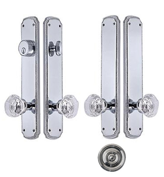 Georgian Roped Oval Double-Door Crystal Octagon Knob Deadbolt Entryway