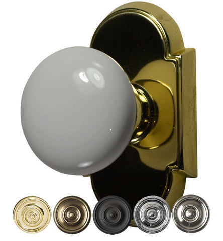 Solid Brass White Porcelain Door Knob Set With Arched Rosette