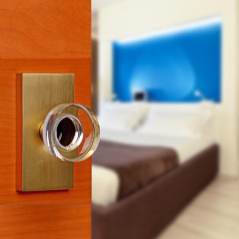 Round Crystal Disc Door Knob with Rectangular Plate