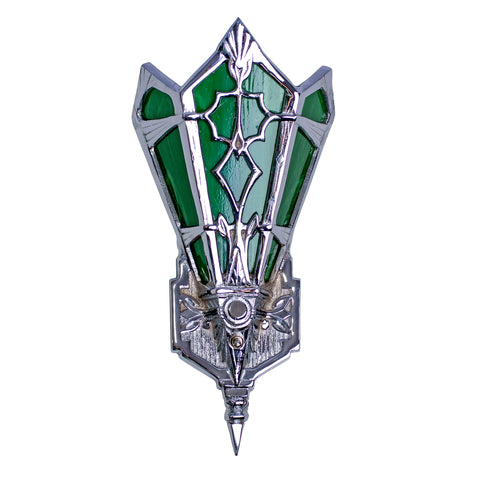 14 Inch Art Deco Stained Glass Shade Deco Green Wall Sconce (Several Finishes Available)