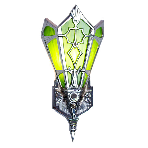 Art Deco Stained Glass Shade Green Wall Sconce (Polished Chrome Finish)