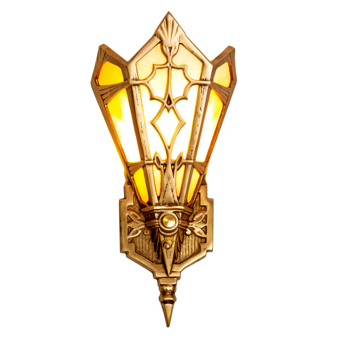14 Inch Art Deco Stained Glass Shade Amber Wall Sconce (Several Finishes Available)