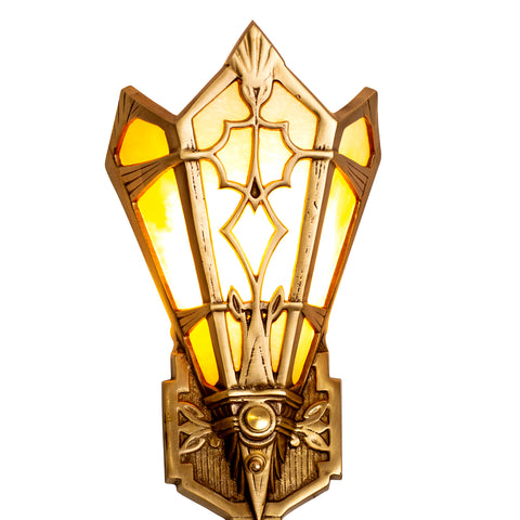 Art Deco Stained Glass Shade Amber Wall Sconce (Antique Brass Finish)