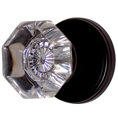 Providence Octagon Crystal Door Knob with Classic Plate