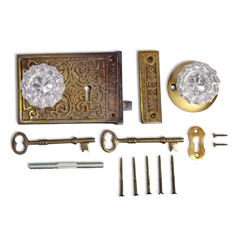 Ornate Victorian Rim Lock Set with Regency Fluted Glass Knob and Regular Rosette (Antique Brass Finish)