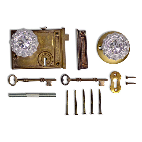 Rim Lock Set with Regency Fluted Glass Knob and Regular Rosette (Antique Brass Finish)