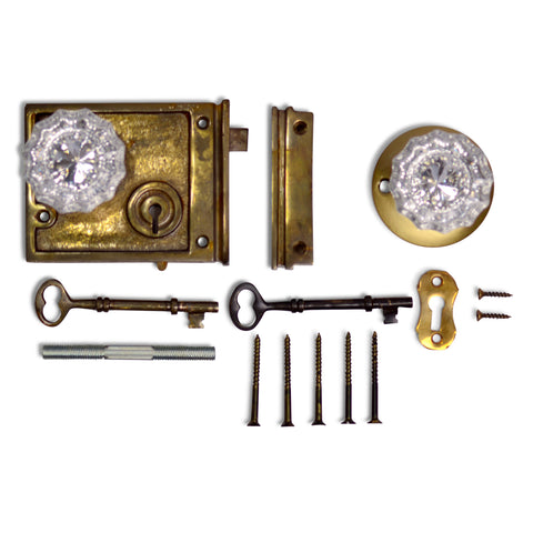 Double Locking Rim Lock Set with Regency Fluted Glass Knob and Regular Rosette (Antique Brass Finish)