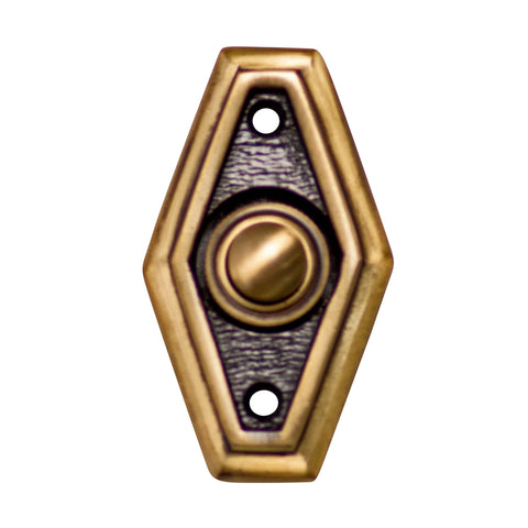 2 1/2 Inch Solid Brass Art Deco Style Doorbell Button (Several Finishes Available)