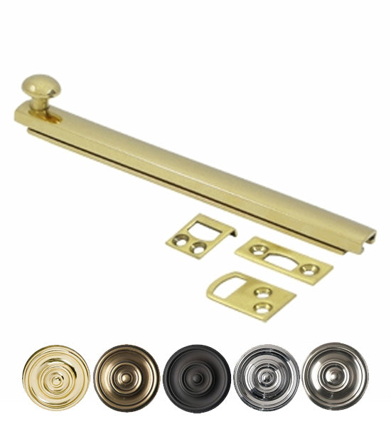 6 Inch Solid Brass Surface Bolt