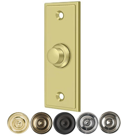 Bell Buttons, Solid Brass Bell Button, Rectangular Contemporary