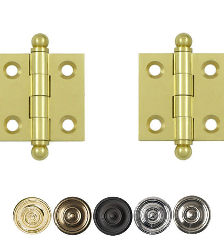 1 1/2 Inch x 1 1/2 Inch Solid Brass Cabinet Hinges