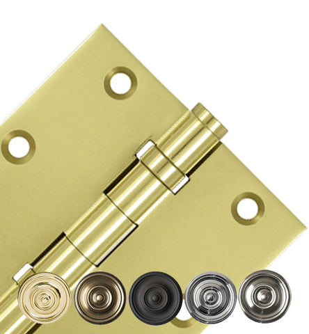 3 1/2 X 3 1/2 Inch Double Ball Bearing Hinge Interchangeable Finials (Square Corner)