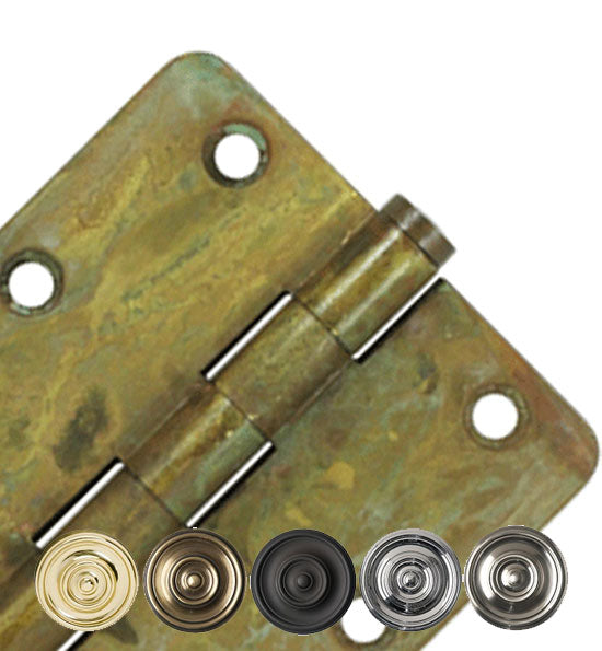 3 1/2 Inch X 3 1/2 Inch Solid Brass Hinge Interchangeable Finials