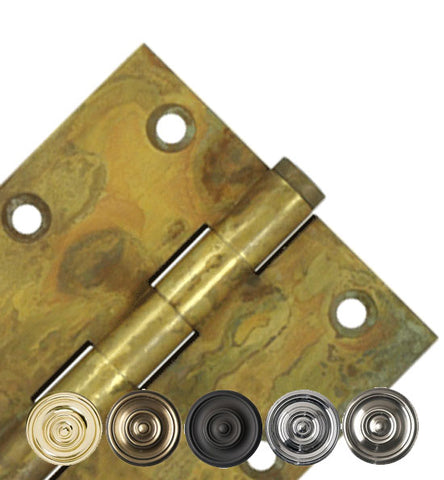 3 1/2 Inch X 3 1/2 Inch Solid Brass Hinge Interchangeable Finials (Square Corner)