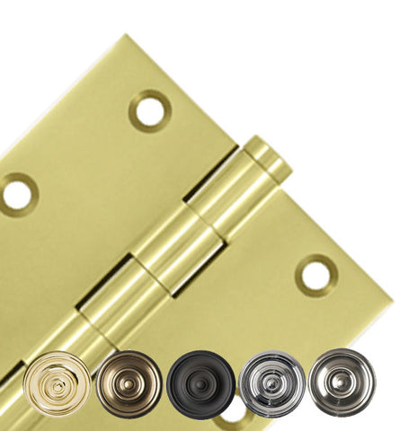 3 1/2 X 3 1/2 Inch Solid Brass Hinge Interchangeable Finials (Square Corner)